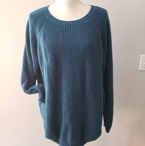 Teal green blue soft knit sweater top
